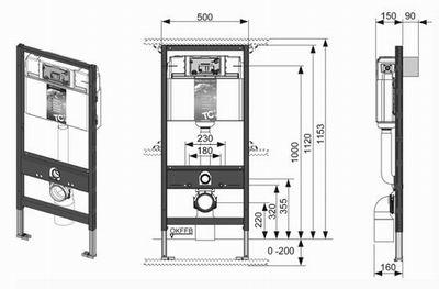 Система инсталляции TECE для унитаза 1120мм двойная.
